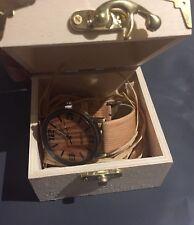 Mens Womens Wood Imitation Bamboo metal frame Handmade Wrist Watch With Box.