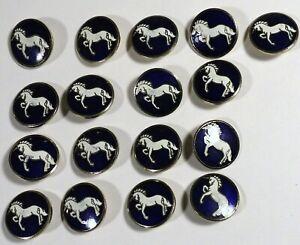 17 Vtg JHB International Metal Enamel Cloisonné Blazer BUTTONS White Unicorn 3/4