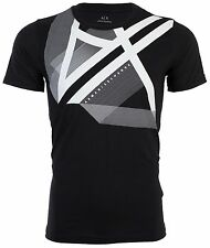 ARMANI EXCHANGE Mens T-Shirt RIGHT SIDE UP Slim BLACK Designer $45 Jeans NWT