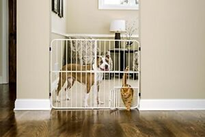 Extra Tall Metal Expandable Pet Gate Fence Walk Through Dog Cat Easy Storage
