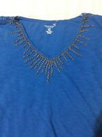 SONOMA NWT WOMENS BLUE TOP ELASTIC HEM PLUS SIZE 2X APPLIQUES ON NECK.