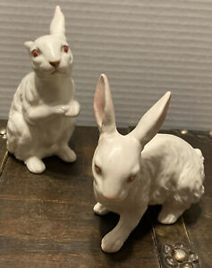 Vintage set of 2 white ceramic bunnies from Ucagco