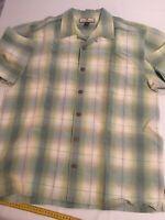 Tommy Bahama Button Shirt L/S Linen Blend Multicolor Plaid Mens Size Medium M