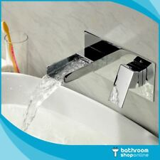 Waterfall Wall Mounted Tap Square Basin Filler Mixer Tap Lever Chrome Sink Tap