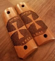 Full Size 1911 Walnut Wood Grips w/ Celtic Cross, Deus/Vult-Springfield, Colt