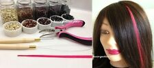 250 SILICONE MICRO BEADS Feather Hair Extension I TIP TOOL KIT PLIERS HOOK LOOP