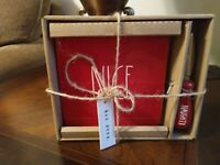 """Rae Dunn Red """"NICE"""" Cheese Board and """"Naughty"""" Knife LL - NEW in box - Rea Dunn"""