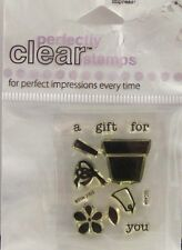 NEW STAMPENDOUS CLEAR STAMP MINI GIFT TAG FLOWER POT SSC404