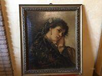 Antico QUADRO ritratto donna DIPINTO olio Su Cartoncino Bellissimo!
