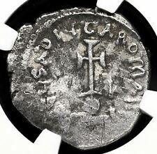 Heraclius, with Heraclius Constantine. 610-641. Silver Hexagram, NGC Ch F