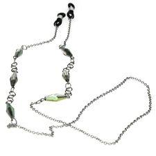 Womens Metalic  Jewel Pendant Eyewear Neck Loop Silver Chain