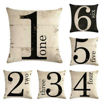 Numbers Pattern Cotton Linen Waist Cushion Cover Pillow case Home Decor 18inch
