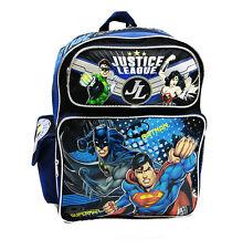 "JUSTICE LEAGUE SUPERMAN Batman GREEN LANTERN Wonder Woman LARGE 16"" BACKPACK Bag"