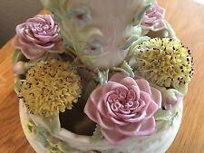 Beautiful Vintage Belleek Basket Floral Centerpiece Vase HTF
