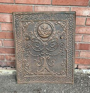 """Tin Beautifully ORNATE ANTIQUE FIREPLACE COVER VENT DOOR 25.5 X 20.75"""""""