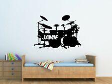 Personalised Kids Drum Set Wall Art Vinyl Sticker Bedroom Decor