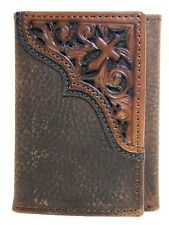 Ariat Mens Western Wallet/Tri-fold/Tooled Cross Brown Rowdy
