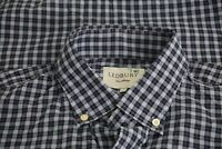 Ledbury Navy Sky Blue Plaid Cotton Long Sleeve Button Up Shirt Sz XL