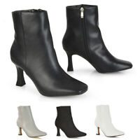 Womens Ankle Boots Ladies Mid High Heel Square Toe Booties Shoes Size 3-8