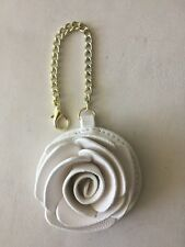 Betsey Johnson Handbag Charm Key Chain Faux Leath White Bone Rose Flower NEW N *