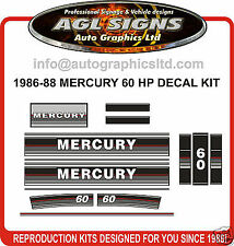 1986 1987 1988 MERCURY 60 hp Outboard decal set   reproductions   50 hp also
