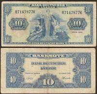 GERMANY FEDERAL REPUBLIC  10 Deutsche Mark 22.08. 1949 Fine P 16