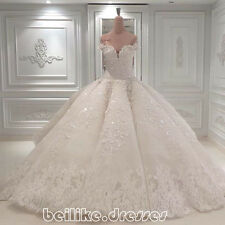 Luxury White/Ivory Wedding Dress Bridal Ball Gown Custom Size 6 8 10 12 14 16