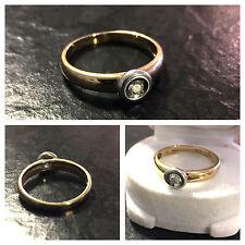 Christ Solitär bicolor Brillantring 585 er Gold Ring Brillant ca. 0,1 ct Gr. 56