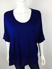 Zara Womens Knit Top Blouse Sz Large Navy Blue Batwing Oversized Casual