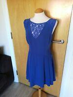 Ladies OASIS Dress Size 12 Blue Lace Panels Smart Party Evening Wedding Races