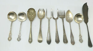 Job Lot of 10 Vintage Silver Plated Serving Cutlery Pieces incl Berry Spoon