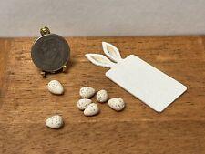 Artisan P YIE Rabbit Cutting Board Sculpt Speckled Eggs Dollhouse Miniature 1:12