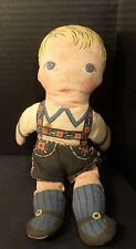 Antique Cloth Doll - Blonde Boy Blue Eyes - Swiss Outfit