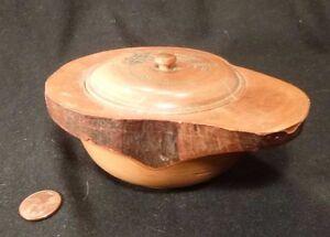 Japanese Carved WOOD BOWL Handmade Japan wooden folk art woodcarving art