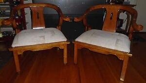 Set of Schnadig Wooden Chairs with White Cloth (Local Pickup Available)