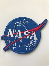 """4"""" NASA Vector Blue/White LOGO ASTRONAUT SPACE SHUTTLE Hook/Lp PATCH Embroidered"""