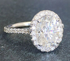 14k White Gold Oval Cut Diamond Engagement Ring Art Deco Halo Prong Set 1.30ctw