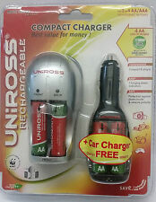 AA/AAA Compact Battery Charger With x4 AA 2100mAh Batteries +Car Charger Uniross