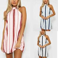 Womens BOHO Loose Sleeveless Striped Party Summer Beach Sundress Short Dress