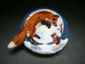 Handmade needle felted brooch/Gift  'The Midnight Friends'    by Tracey Dunn