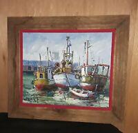 "Artist Mendola, Three Fishing Boats in Fisherman's Wharl, Oil Painting, 18""x15"""