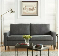 "72.5"" Apartment Sofa, Woven Fabric-Heather Grey"