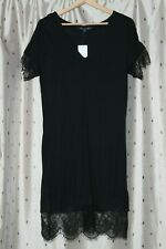 French Connection ~ Black Lace Trim Viscose Tunic Dress ~ Size 10 ~ NWT