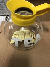 US Foods  Tea  Glass  Pot Decanter Drip Proof - 12 cup 64 oz Yellow Handle