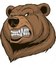 """3"""" Mean Bear Angry Grizzly Brown Teeth Growl Fur Hunter Vinyl Cool Sticker"""