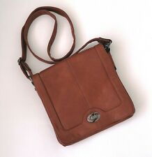 NEW Small Caramel Brown Cross Body Shoulder Bag Faux Leather Floral Print Lining