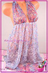 NEW Victoria's Secret Lingerie XS Slip Babydoll Plunge Tulle Floral Multi Color
