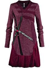 Materialmix-Strickkleid Gr. 36 Beere Damen-Kleid Freizeitkleid Minikleid Neu