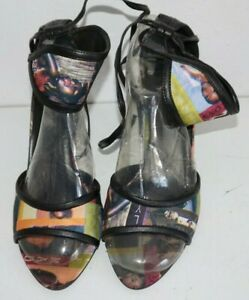 Vertical African American Women Print High Heel Shoes Sz 7 Ankle Cuff Multicolor