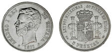 5 SILVER PESETAS / PLATA. DURO. MADRID. AMADEO I DE SABOYA. 1871*18-74. XF-/EBC-